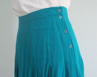 Vintage Midi Skirt - 90s Pleated Rayon Skirt in Teal Blue - Vintage Turquoise Blue Midi Skirt - Vintage 1990s Skirt M L