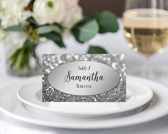 Personalized Wedding Place Cards Names Silver Place Cards Printable Wedding Seating Cards Silver Glitter Tented And Flat Elegant Table Cards