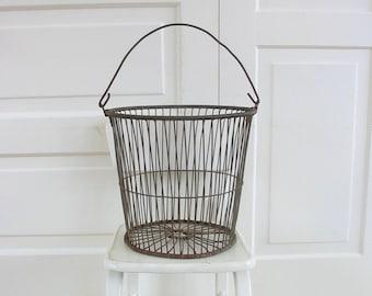 RESERVED...Vintage Egg Basket, Vintage Wire Basket, Vintage Metal Basket, Vintage Clam Basket, Vintage Market Basket, Circular Metal Basket