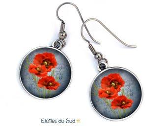 Bijoux d'oreilles  coquelicots, pavots, fleurs rouges ,Crochets acier chirurgical ,Earrings flowers,Stainless Steel hooks,ref.149