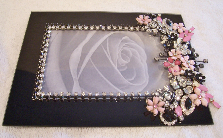 Marco 4 x 6 de vidrio negro con piedras preciosas. Cumpleaños, boda ...