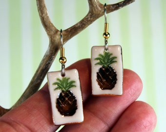 Pineapple  Porcelain Ceramic Dangle Ear Wire Earrings