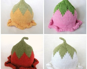 Flower Fairy Hat, Knit Baby Cotton Hat, Custom Order You Choose Colors