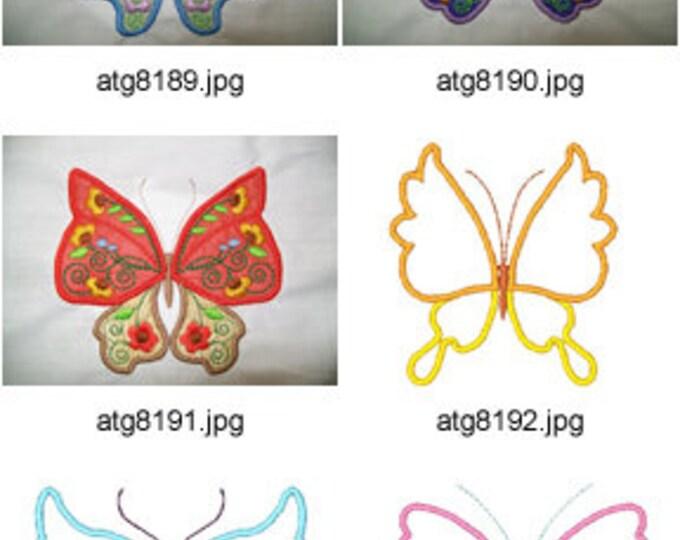Jacobean-Applique-Butterflies  ( 7/14 Machine Embroidery Designs from ATW ) XYZ17E