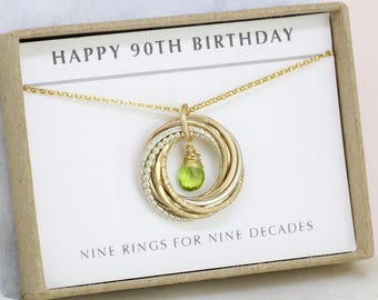 90th birthday gift, August birthstone necklace 90th, peridot necklace for 90th birthday, gift for grandmother, mom - Lilia