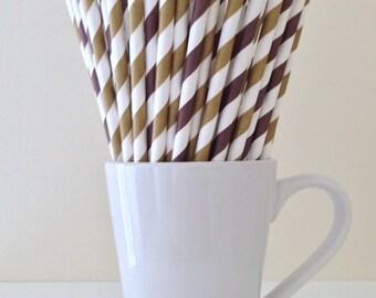 Brown and Gold Striped Paper Straws Party Supplies Party Decor Bar Cart Cake Pop Sticks Mason Jar Straws Graduation