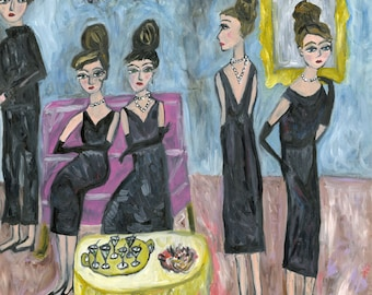 None of the girls would dream of missing Evangeline Boatwright's annual Holly Golightly party. Limited edition print by Vivienne Strauss.