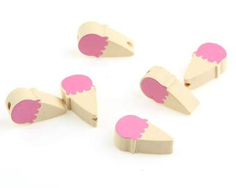 2 pink wooden ice cream cone beads and natural 12x20mm