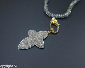 Pavé Diamond Cross Pendant Necklace - Precious Diamond Cross Necklace -925 Sterling silver - Cross Flower pendant - Pave diamond Jewellery