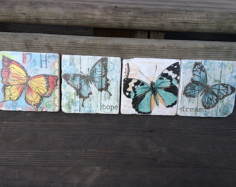 Stone Coaster ~ Stone Coaster Set ~ Stone Coasters with Butterflies ~ Stone Coasters ~ Drink Coasters ~ Natural Stone Coasters