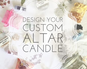 """CUSTOM Altar Candle- Dressed w/Herbs, Crystals, Glitter, Personalized for Your Intention 2""""x6"""" Burns 20 hrs wicca magic spell manifestation"""