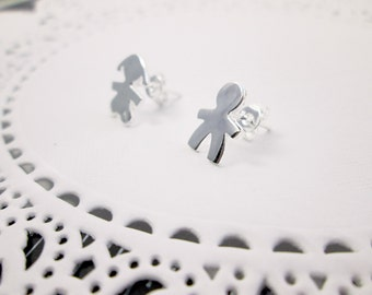 Teeny Tiny Sweet Love Boy and Girl Silver Stud Earrings Simple Tiny Couple Earrings Lovers Jewelry Girlfriend Gift Dating Anniversary Gift