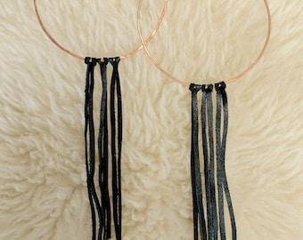 Dangle Earrings Hoops Long Earrings Boho Hoop Earrings Tassel Earrings Fringe Earrings