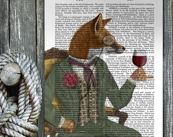 Kitchen Decor - Wine Tasting Fox, Portrait - Gourmet gift for cook gift for chef kitchen wall art gastronomy gift country home décor art