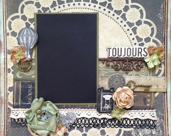 Premade Scrapbook Layout 12x12 page Toujours (Always) - vintage steampunk gift