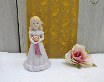 Growing up Girls Birthday Series, Age Eight, Gift for Girl, Porcelain Statue Girl, Gift for young girl, Birthday Year 8, Gift for Pre-Tween