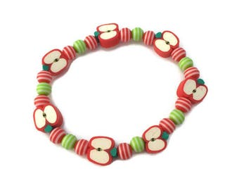 Red Apple Bracelet - Apple Beads - Apple Jewelry - Fruit Beads - Fruit Jewelry - Red and Green - Teachers Gift - Back to School Gift - Gifts