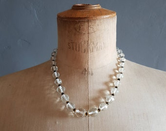 Clear Glass Bead Necklace. Multi Faceted Glass Beads Costume Jewellery
