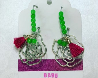 Silver flower and green earrings, tassel earrings, trendy jewelry
