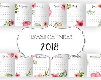 Hawaii Calendar 2018, Monthly Printable Calendar, 2018 Calendar, Watercolor Calendar, Floral Calendar, Printable Calendar, Wall Calendar
