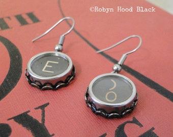 Schreibmaschine Schlüssel Ohrringe Jahrgang Buchstaben E und Klammer / Zero Schlüssel