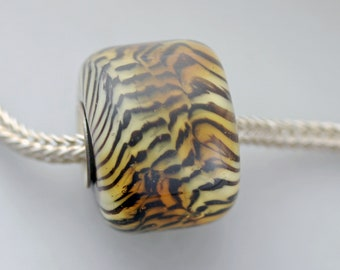 Unique Siberian Tiger Barrel Bead - Artisan Glass Charm Bracelet Bead - (JUN-62)