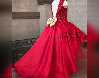 Birthday Dress - Baptism Dress - Girl Dress - Lace Dress - Baptism Dress - handmade Flowers -  Kadija Dress by Zulett Couture
