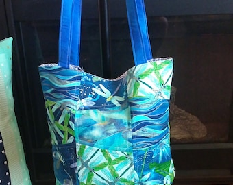 Dragonflies Are Free Quilted Tote Bag
