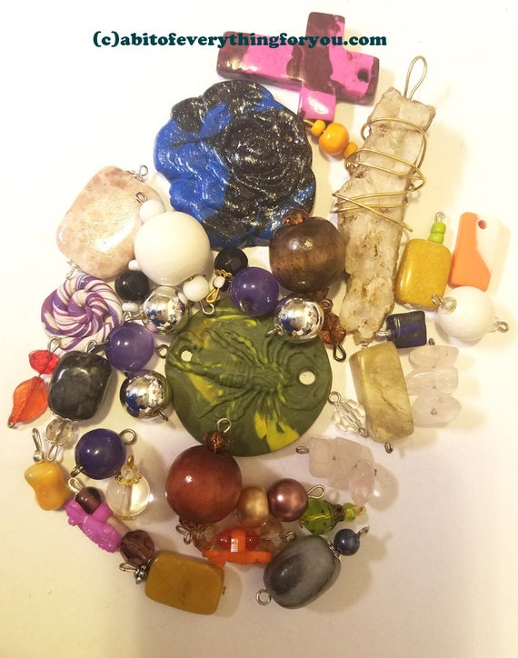 36 clay stone pendants bead drops charms mixed lot glass plastic beads jewelry