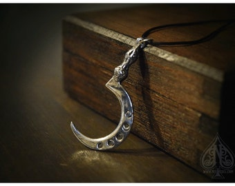 Sickle Silver Pendant Boline with moon phases