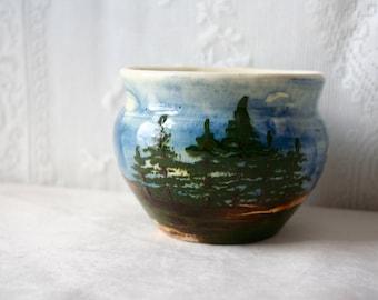 Vintage Mid Century Hand Painted Scenic Vase Planter Tourist Art Pottery Trees Water Sky
