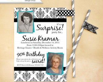 Adult Birthday 80th Birthday Party invitation Works for any age 50th 60th 70th Flier Invite Customized for you