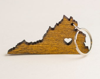 Virginia Keychain - VA State Keychain - Wooden Virginia Carved Key Ring - Wooden Engraved Virginia Charm - Old Dominion State Keychain