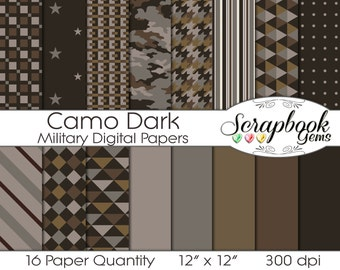 """Camouflage Dark Military Digital Papers, 16 Pieces, 12"""" x 12"""", High Quality JPEG files, Instant Download Commercial Scrapbook hunting"""