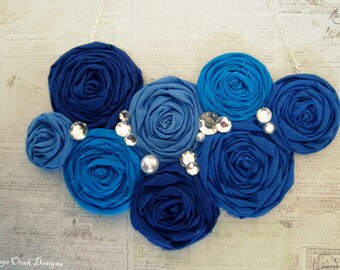 Cobalt Blue Statement Necklace, Rosette Statement Necklace, Blue Ombré Necklace,Rosette Bib Necklace, Bridal Jewelry, Serenity Blue Necklace