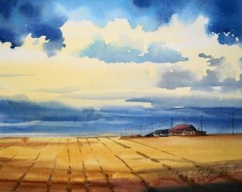 Original Watercolor Painting, Landscape Watercolor, Landscape Picture, Original painting, Watercolor Art, Watercolor Picture, Sky Watercolor