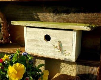 Mid century modern birdhouse,outdoor birdhouse,handpainted, mothers day gift,birdhouse, garden decor,hummingbird,handmade birdhouse,garden