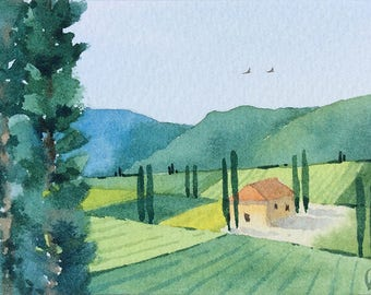 ACEO Original watercolor painting - Near Norcia