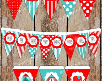 "Circus Birthday Party Banner Blue and Red ""Happy Birthday "" 