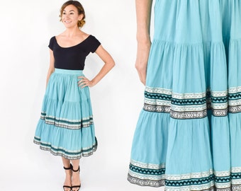 50s Turquoise Squaw Skirt | Rockabilly Full Skirt, Extra Small