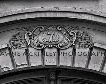 Number 7 Door Architecture Black and White Photograph Puerto Rico Travel 5x7or 8x10 Sale