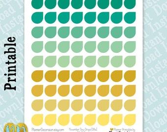 November Monthly Dew Drop Printable Planner Stickers, November Dew Drops, DIY Planner Sticker Printables, Instant Download PDF