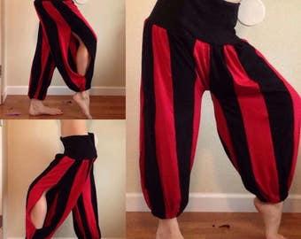 Knit slit harem pants