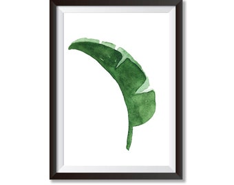 Botanical Art Print, Leaf Print, Nature Print, Nature Art, Green Leaf Print, Banana Leaf Print, Watercolour Leaf Print, Watercolour Painting