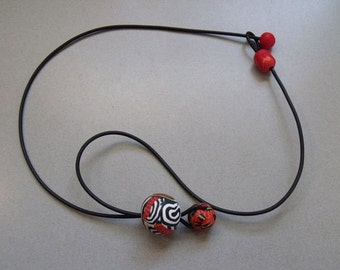 Drop Bobbles Red Necklace