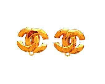 Authentic vintage Chanel earrings Gold CC Logo Double C #ea2107