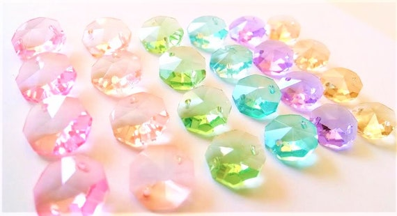 Pastel Mm Octagon Chandelier Crystals Hole Beads - Octagon chandelier crystals