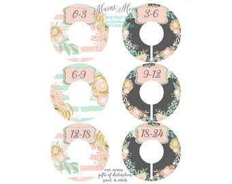 6 Baby Closet Dividers, Baby Shower  Floral, Pink, Mint Nursery Decor Clothing Baby Clothes ,