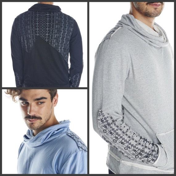 Tribal men hoodie funky long sleeves printed jumper festival clothing funky men top psychedelic sacred geometry burning man Uzrk6k3AQq