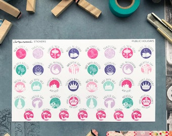 Malaysian Public Holidays Artsunami Functional Planner Journaling Scrapbooking Stickers